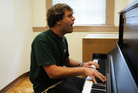 Student in a practice room